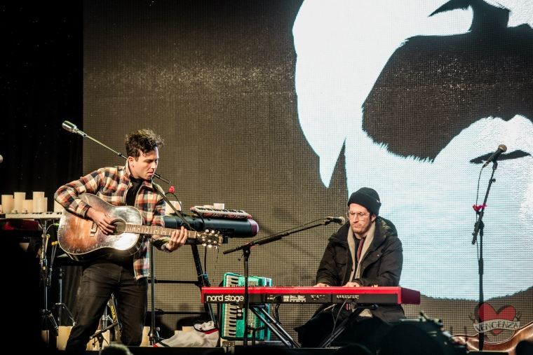 Max Kerman and Anthony Carone of The Arkells performing at Mike Taylor's Memorial Concert